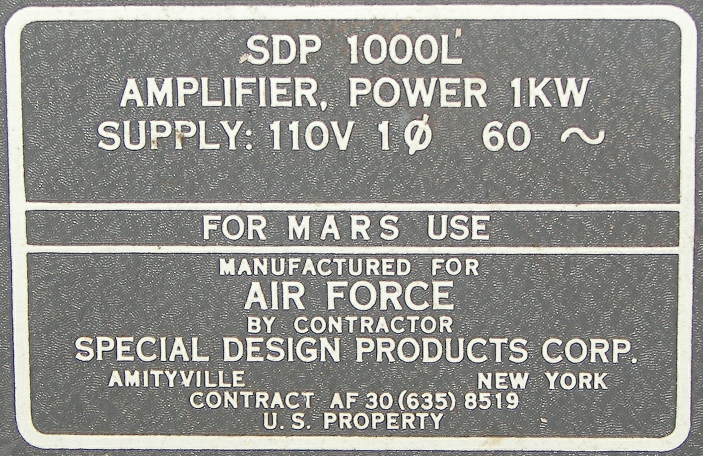 Special Design Products Corp  SDP 1000L Amplifier