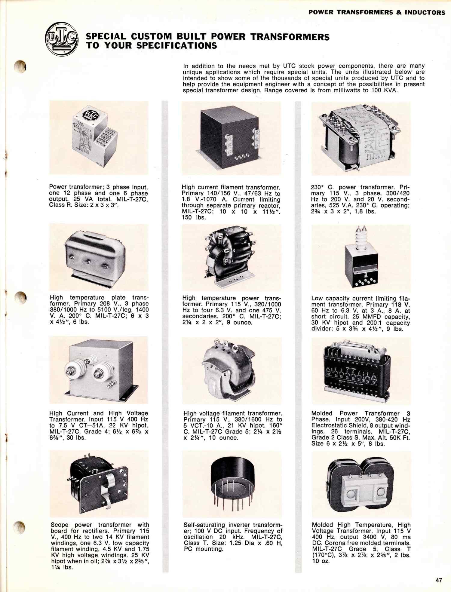Utc Transformer Catalog